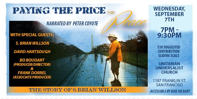 Paying The Price For Peace screens at the Unitarian Universalist church SF